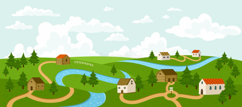 Lato wioski krajobraz royalty ilustracja