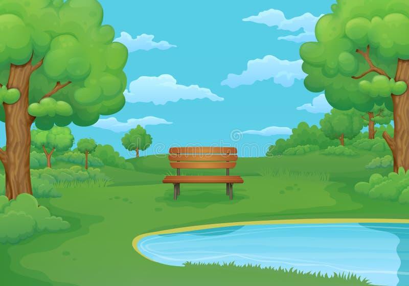 Lato, wiosna dnia ilustracja Drewniana ławka jeziorem z bujny zieleni krzakami i drzewami ilustracji