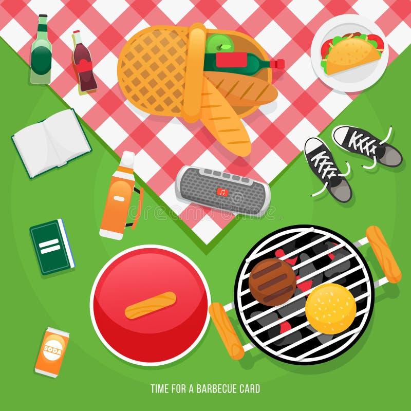 Lato, wiosna grill i pinkin ikony ustawiający, Przekąski taco i piwo Partyjne rzeczy, pykniczny kosz z chlebem i wino, Romantyczn ilustracji