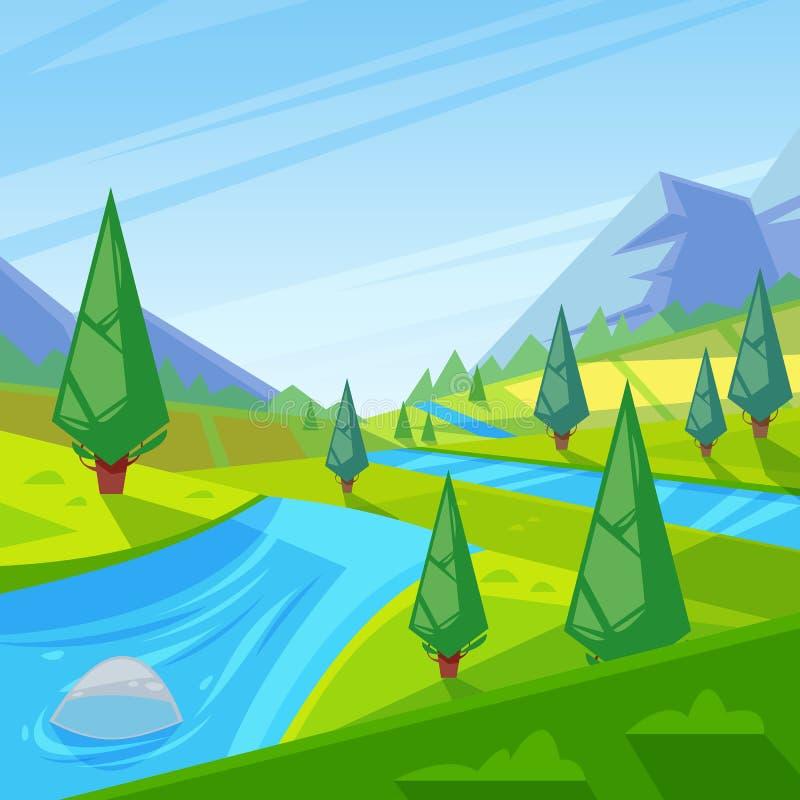 Lato, wiosny zieleni krajobraz Wektorowa ilustracja wzgórza, łąki i góry, ilustracji