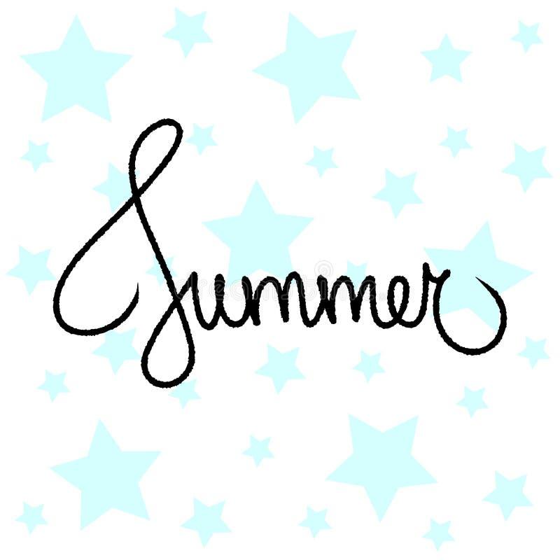 Lato wycena abstrakcjonistyczny literowanie Tekstylny druk błękitnych gwiazd tła kolaż Ręcznie pisany gwiazdowa pocztówka Śliczny royalty ilustracja