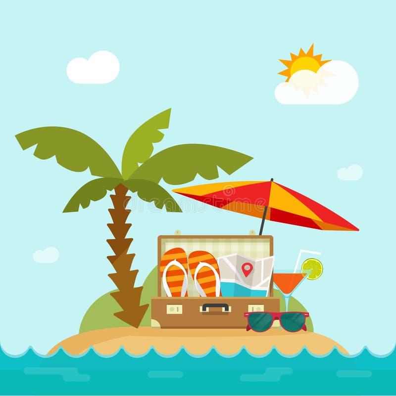 Lato wycieczka, kurort na wyspie, plaża, pojęcie szczęśliwy wakacje letni royalty ilustracja