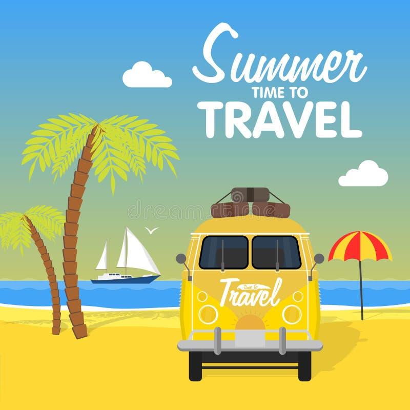 Lato wyspy plażowy campingowy krajobraz royalty ilustracja