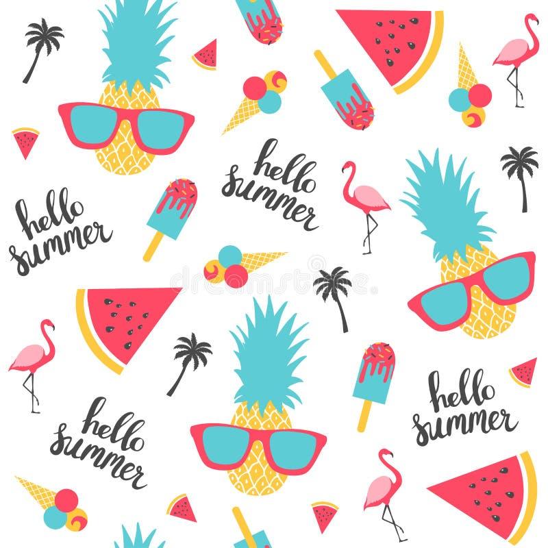 Lato wzór Arbuz, ananas ilustracji