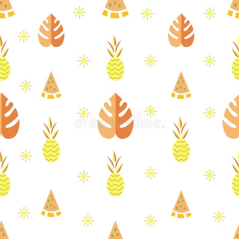 Lato wzór Cześć lato Lato wzór z tropikalnymi elementami zdjęcia royalty free