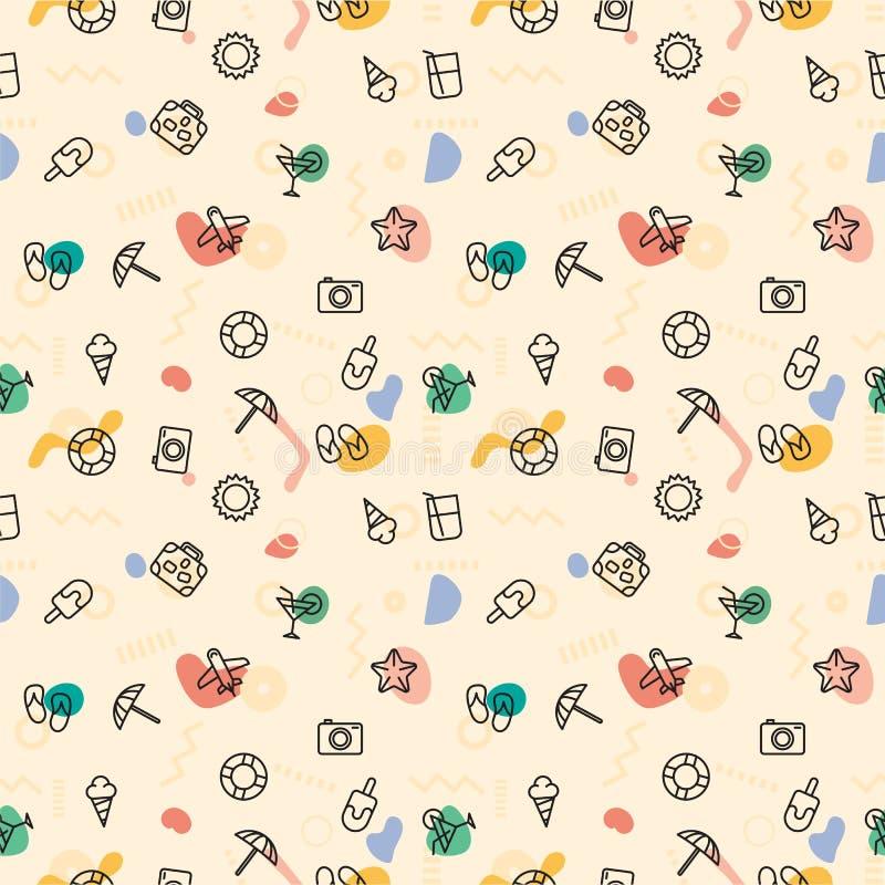 Lato wzoru druku słońce, parasol, kapcie, lody, koktajl, kamera ilustracji