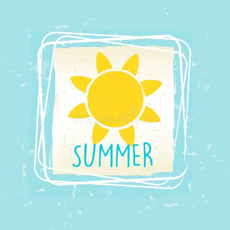Lato z słońcem podpisuje wewnątrz ramę nad błękitnym starym papierowym tłem ilustracji