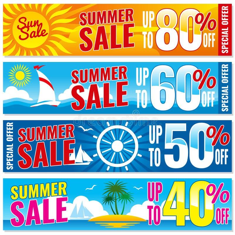 Lato zakupy wektorowi sztandary ustawiający Gorący ceny pojęcia szablon ilustracji