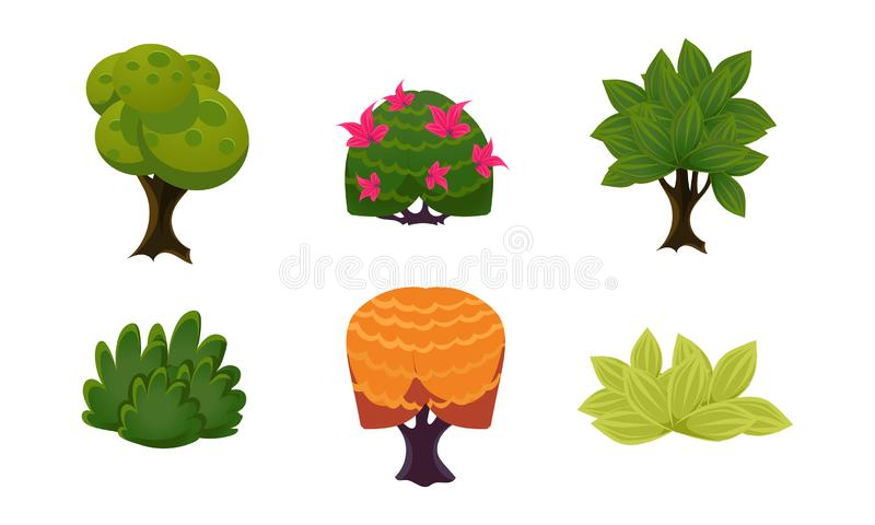 Lato zasadza set, ślicznych kreskówki fantazi krzaki, drzewa, interfejs użytkownika wartości dla mobilnych apps i wideo gry wekto ilustracji