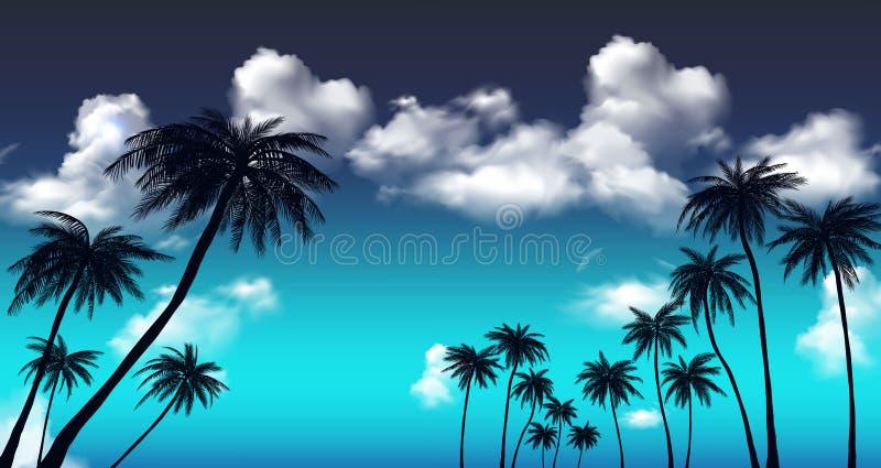 Lato zmierzchu drzewka palmowe Piękny tropikalny, egzotyczny dowcip, chmurnieje w niebie r?wnie? zwr?ci? corel ilustracji wektora ilustracji