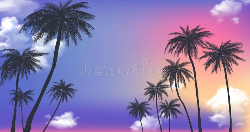 Lato zmierzchu drzewka palmowe Piękny tropikalny, egzotyczny dowcip, chmurnieje w niebie r?wnie? zwr?ci? corel ilustracji wektora royalty ilustracja