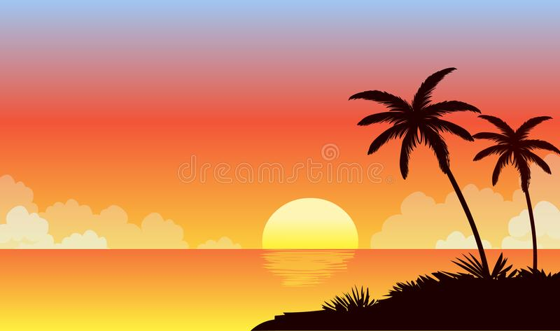 Lato zmierzchu plaża Plażowy wektor tropikalny na plaży ilustracja wektor