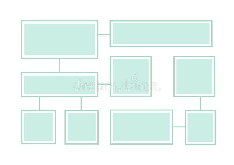 Latout del diagramma di flusso su un fondo bianco Informazione-scatole collegate illustrazione di stock