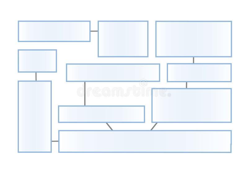 Latout del diagramma di flusso su un fondo bianco Informazione-scatole collegate per la presentazione Modello piano di progettazi illustrazione vettoriale