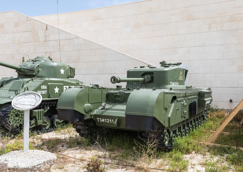 American Churchill MK VII tank is on the Memorial Site near the Armored Corps Museum in Latrun, Israel. Latrun, Israel, April 06, 2019 : American Churchill MK royalty free stock image