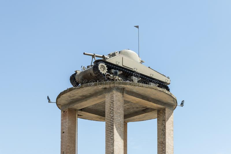 The tank of the times of the Wars of Independence of the State of Israel stands on a high pedestal on the Memorial Site near the A royalty free stock photos