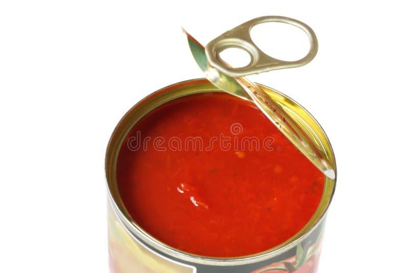 Latta aperta dei pomodori immagine stock libera da diritti