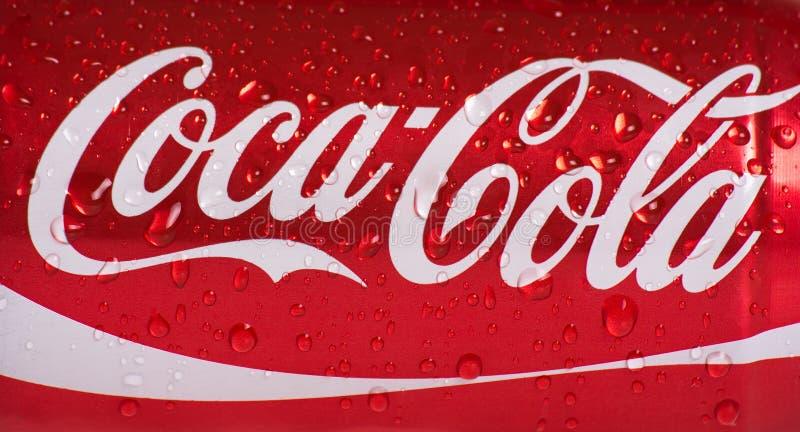 Latta bagnata di coca-cola immagine stock libera da diritti