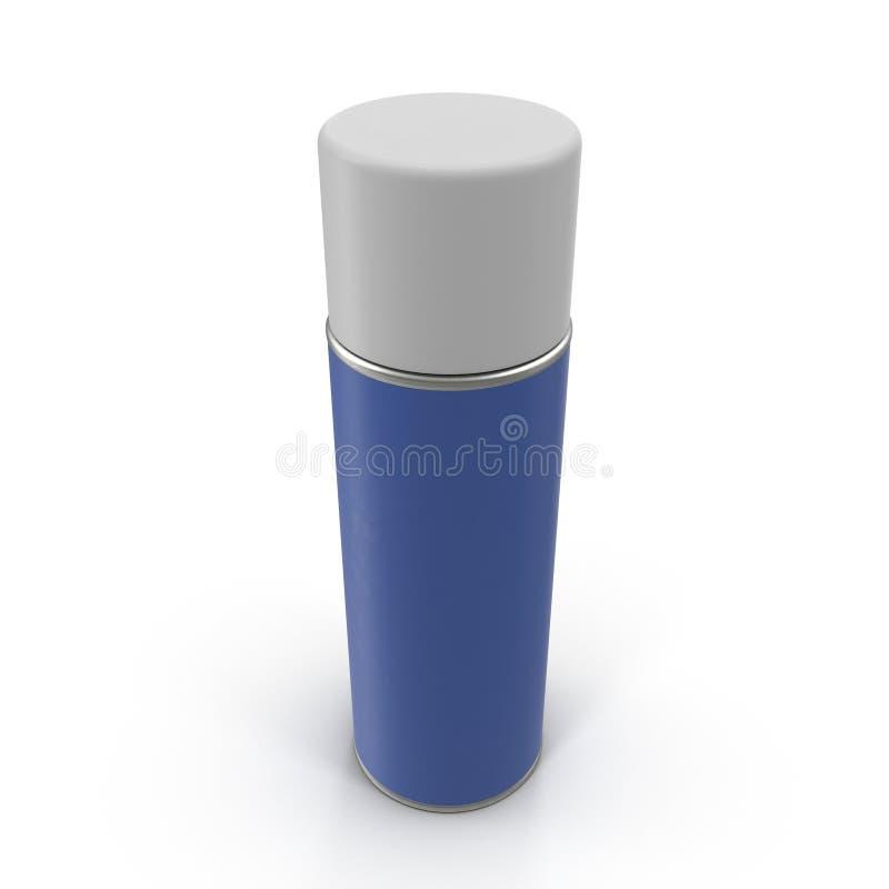 Latta blu della bottiglia del metallo dello spruzzo di aerosol illustrazione di stock