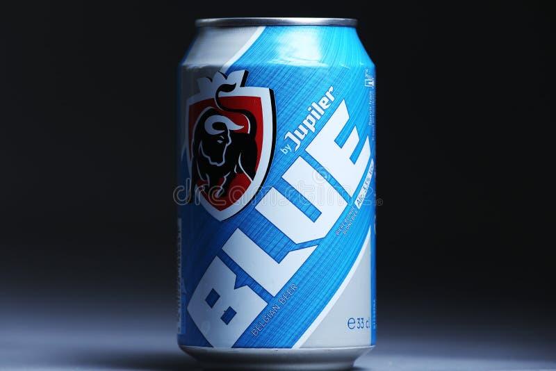 Latta della birra del Belgio, isolata, spazio del blu di Jupiler della copia fotografia stock