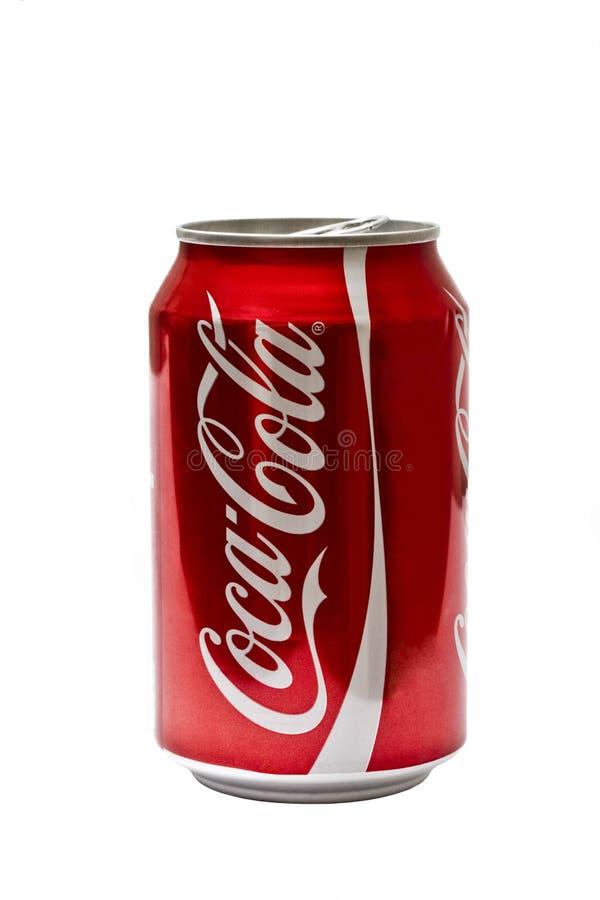 Latta della coca-cola immagine stock