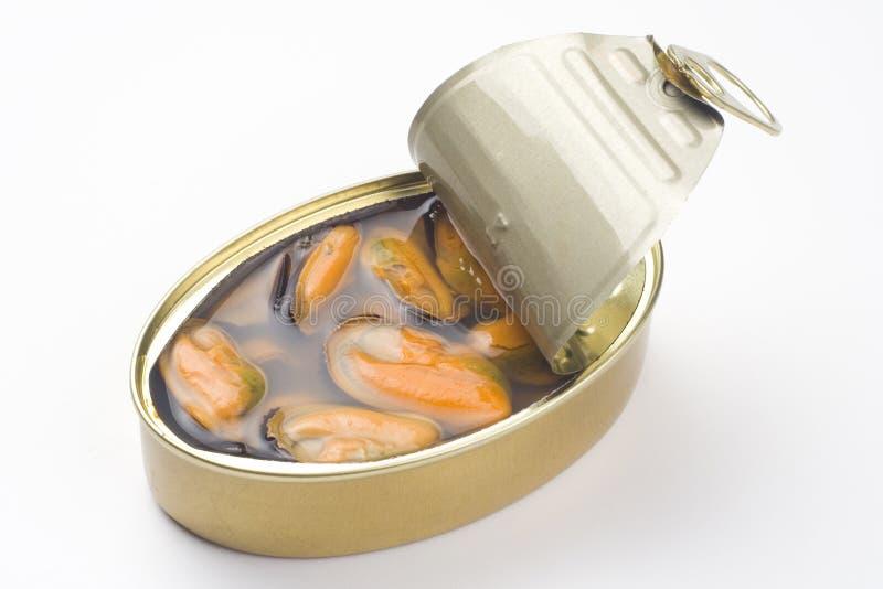 Latta di alluminio, alimento inscatolato isolato sopra bianco fotografia stock