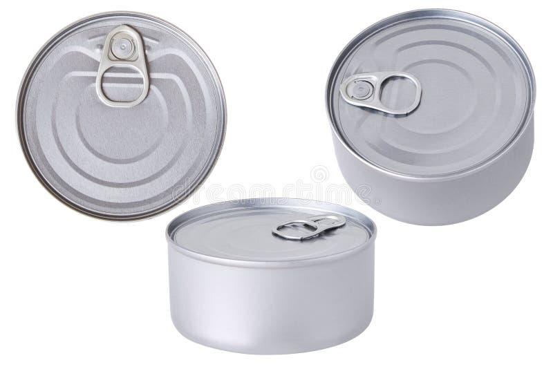 Latta di alluminio barattolo conservare isolato immagini stock libere da diritti