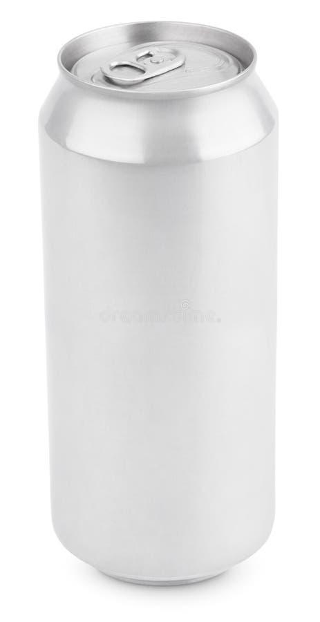 Latta di alluminio di birra su bianco fotografia stock libera da diritti