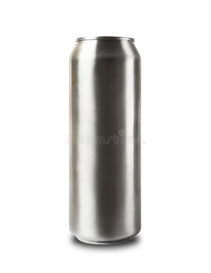Latta di alluminio isolata su bianco. fotografia stock