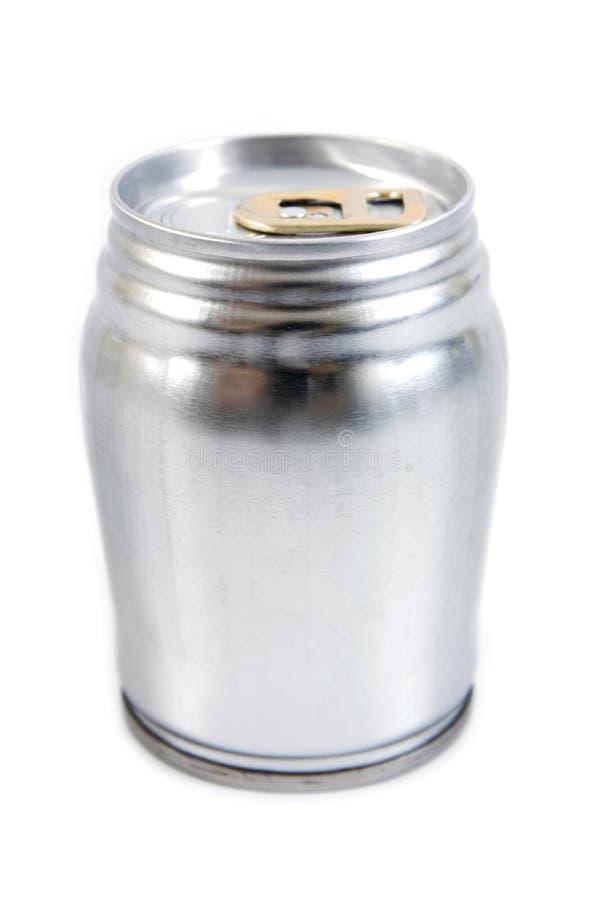Latta di alluminio isolata su fondo bianco Il metallo pu? isolato immagine stock libera da diritti