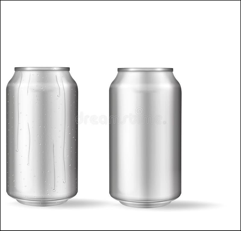 Latta di alluminio realistica con le gocce di acqua Latte metalliche per birra, soda, limonata, succo, bevanda di energia Il mode royalty illustrazione gratis