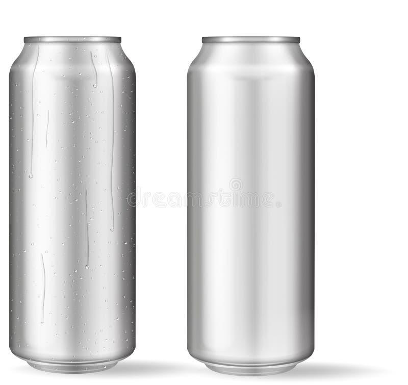 Latta di alluminio realistica con le gocce di acqua Latte metalliche per birra, soda, limonata, succo, bevanda di energia Il mode illustrazione vettoriale
