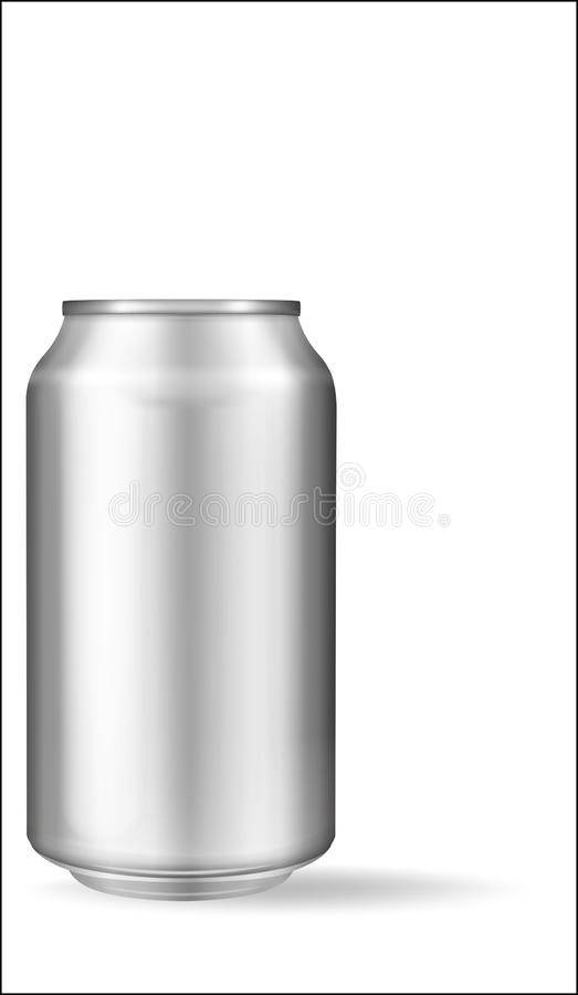 Latta di alluminio realistica su fondo bianco Modello, latta in bianco con lo spazio della copia illustrazione vettoriale