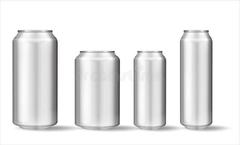 Latta di alluminio realistica su fondo bianco royalty illustrazione gratis