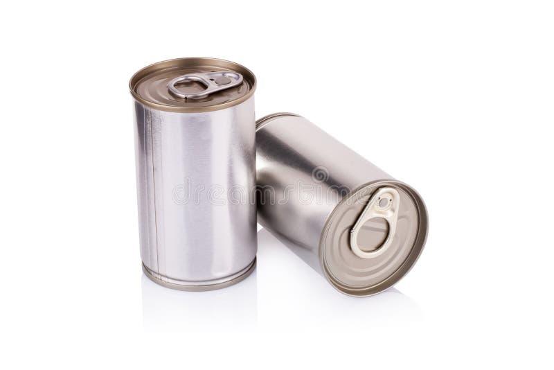 Latta di alluminio su un fondo bianco immagine stock libera da diritti