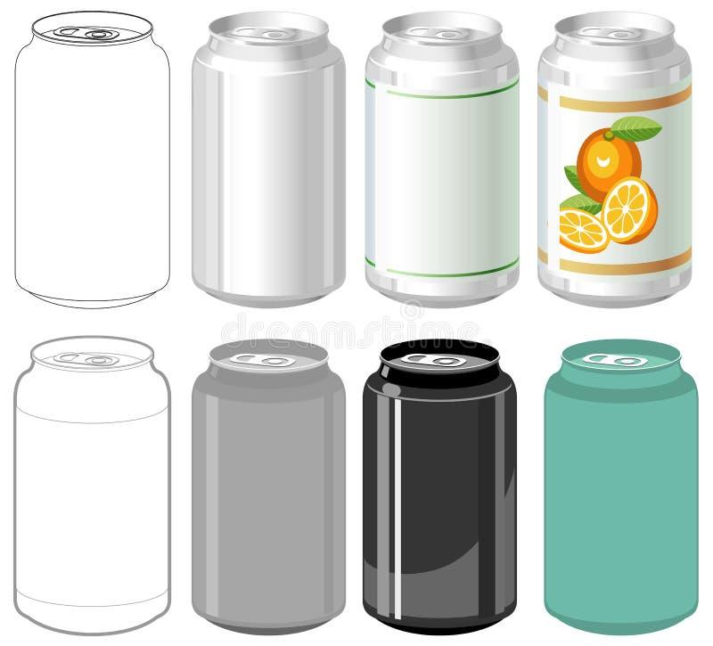 Latta di bevanda negli stili differenti illustrazione di stock