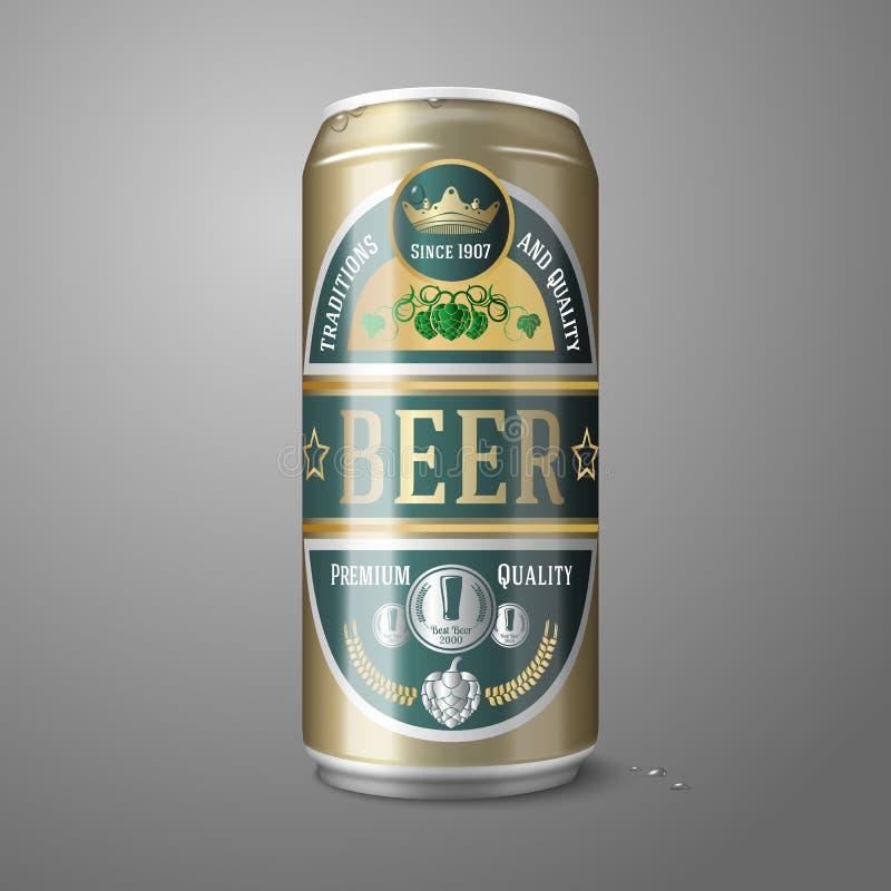 Latta di birra dorata con l'etichetta, isolata su gray illustrazione di stock
