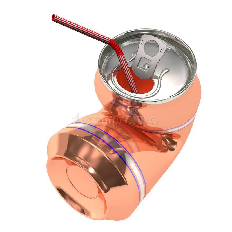 Latta di birra schiacciata con paglia fotografia stock libera da diritti