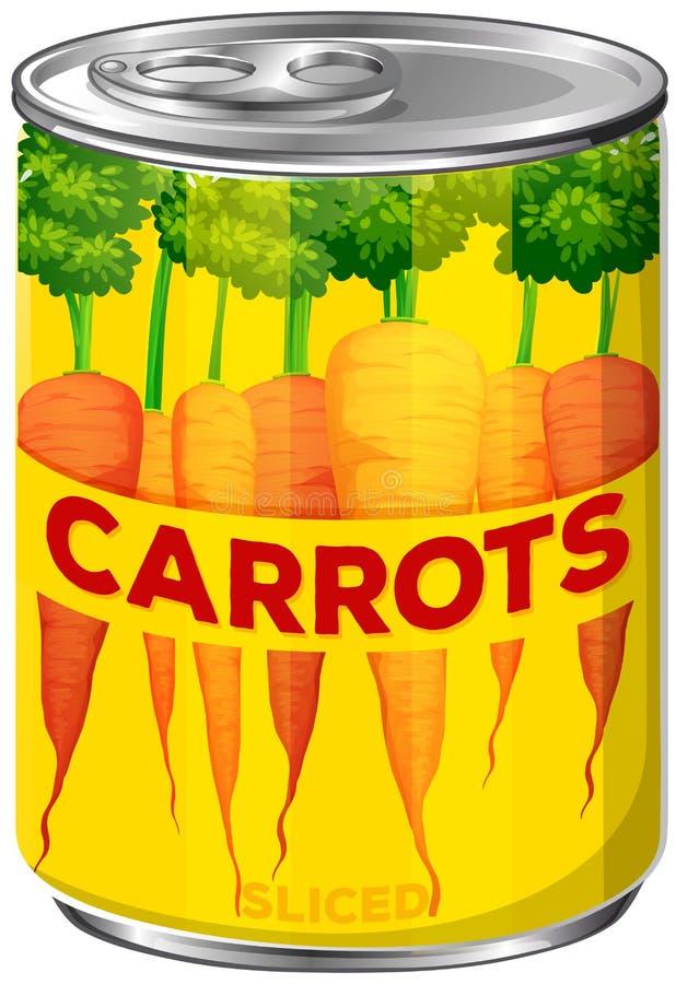 Latta di A delle carote affettate illustrazione vettoriale