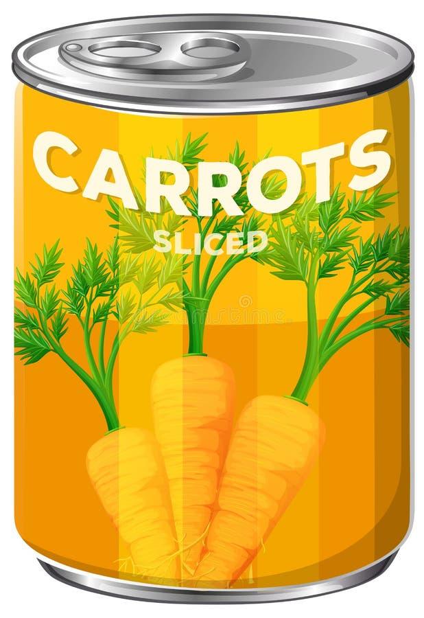 Latta di A delle carote affettate illustrazione di stock