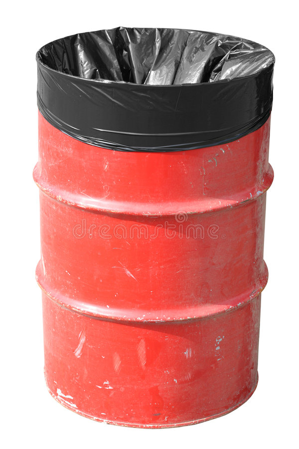 Latta di immondizia rossa immagini stock libere da diritti