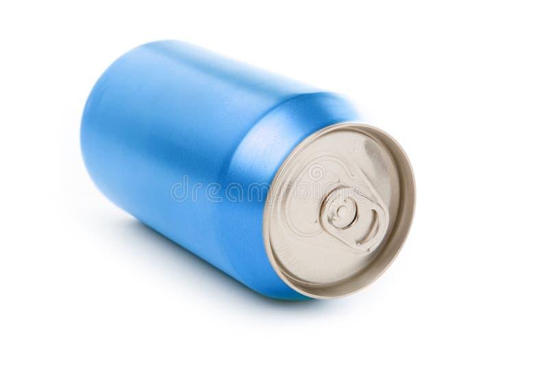 Latta di soda in bianco blu fotografia stock