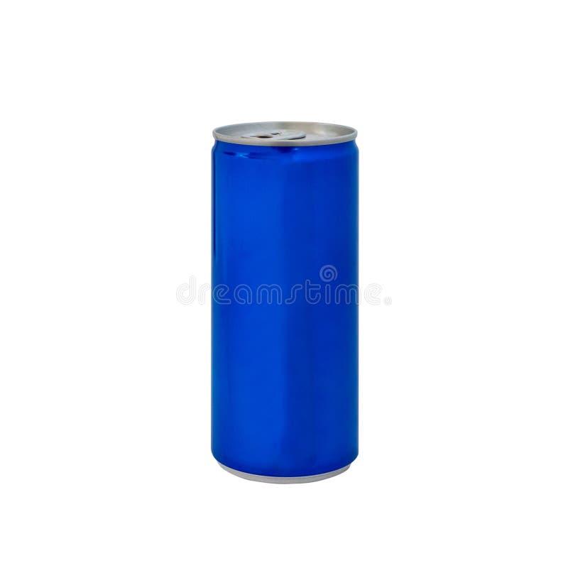 Latta di soda blu di alluminio della bibita di colore isolata su fondo bianco fotografia stock libera da diritti