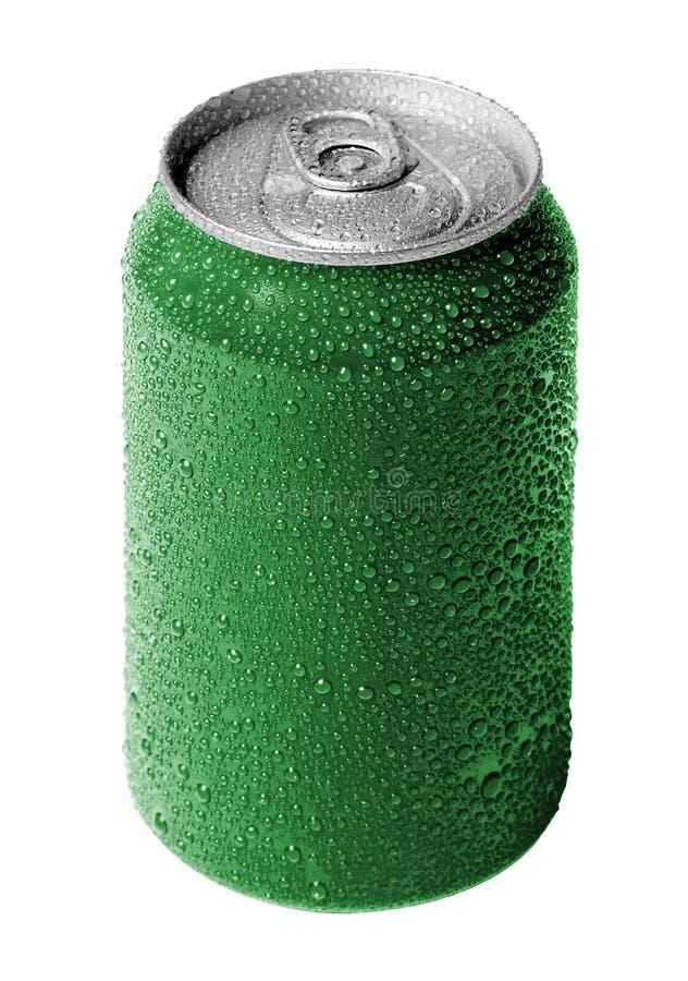 Latta di soda verde fotografia stock libera da diritti