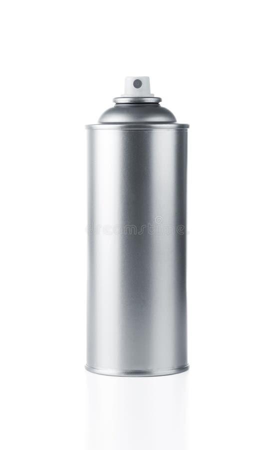 Latta di spruzzo in bianco fotografia stock
