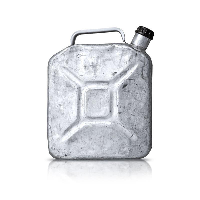 Latta jerry della vecchia benzina sopra priorità bassa bianca fotografia stock