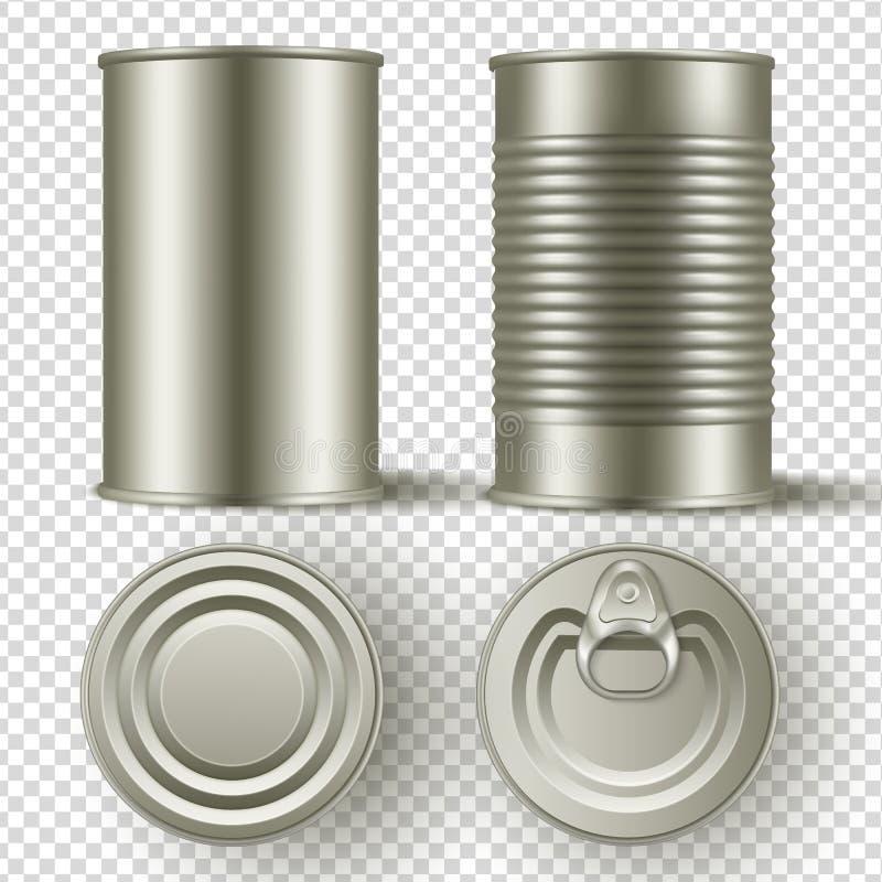 Latta realistica 3d barattolo deridere sull'insieme Vista laterale superiore e illustrazione di stock