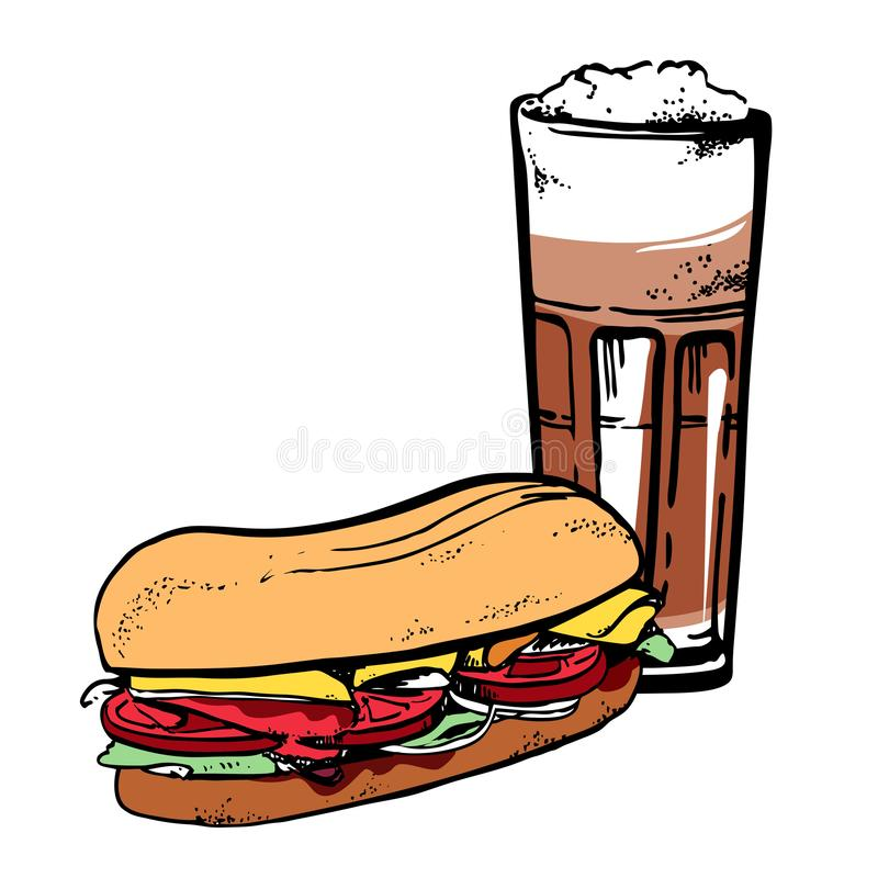 Latte και σάντουιτς Συρμένο το χέρι διάνυσμα σκίτσων περιλήψεων illustrationt με το χρώμα γεμίζει διανυσματική απεικόνιση