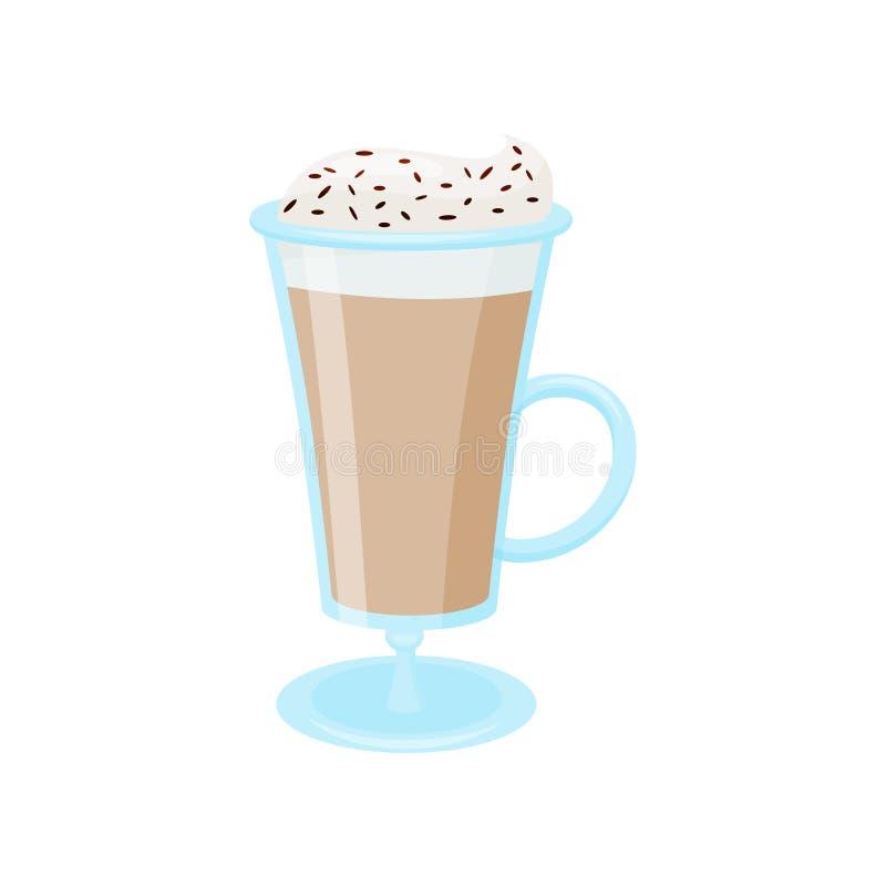 Latte кофе с взбитой сливк Стеклянная кружка вкусного напитка Очень вкусный напиток Плоский дизайн вектора иллюстрация вектора