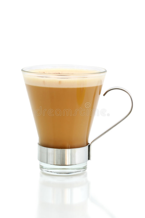 Latte. Cafe-style latte coffee, isolated on white royalty free stock images